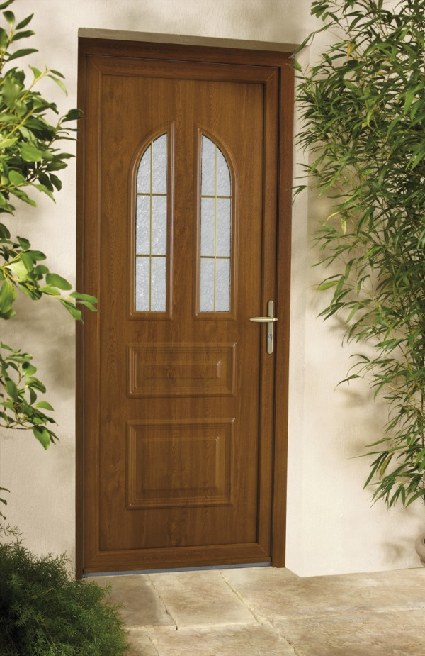 porte d 39 entree pvc grosfillex bicolor marron sur mesure a. Black Bedroom Furniture Sets. Home Design Ideas