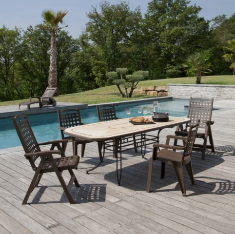 TABLE de jardin PVC GROSFILLEX Modele AMALFI et AMALFI Décor PIETRA ...